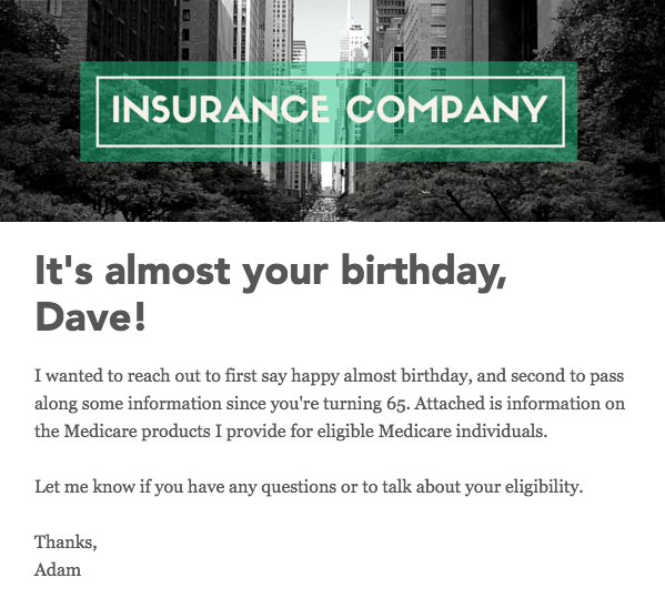 Turning 65 insurance medicare example email