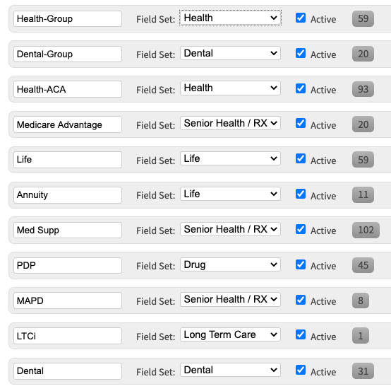 Policy Coverage Type Field Sets | AgencyBloc CRM
