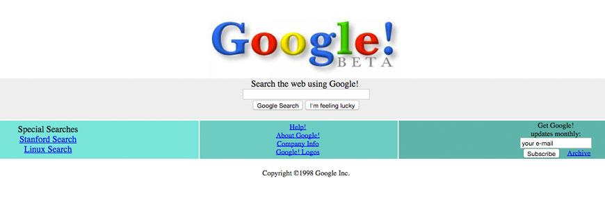 Google Beta Homepage in 1998