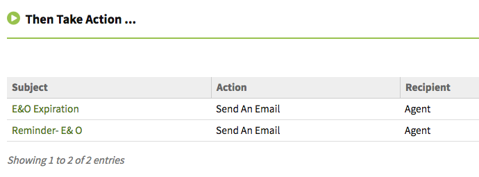 Agent E&O expiration automated email reminders