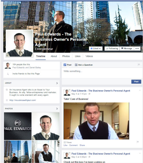 Insurance Agent Facebook Page Example