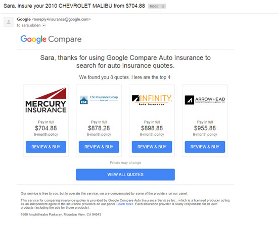 Google Compare Follow-Up Email
