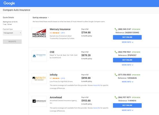 Google Compare Listings