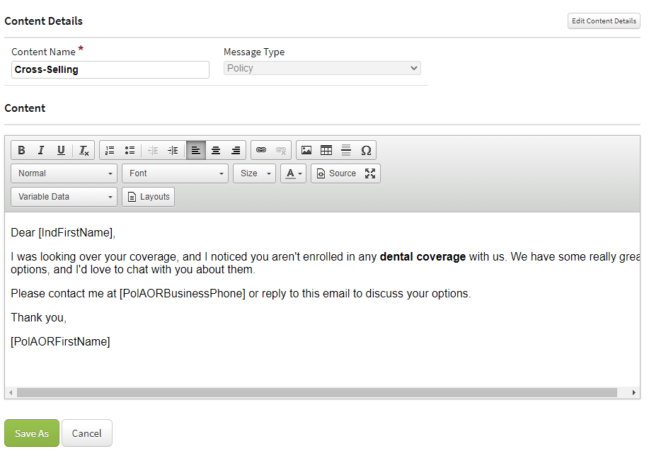 cross-selling email example