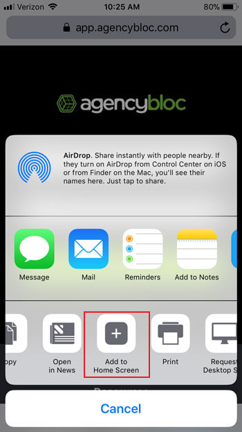 Add AgencyBloc as Shortcut on Mobile Phone