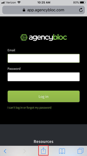 AgencyBloc App Login Screen on Mobile