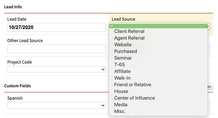 Lead Source Drop-down Menu