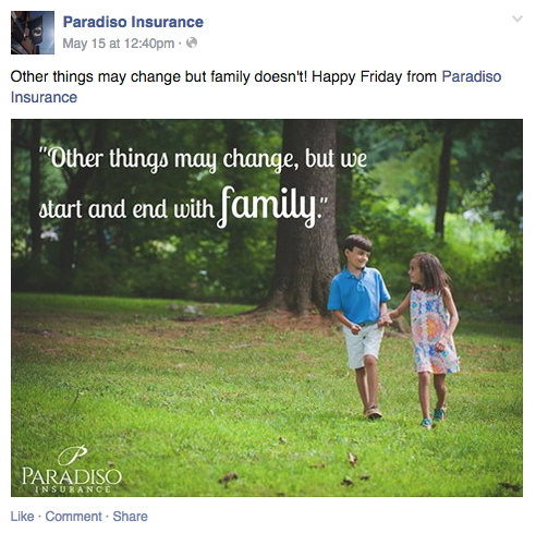 Paradiso Insurance Facebook Post