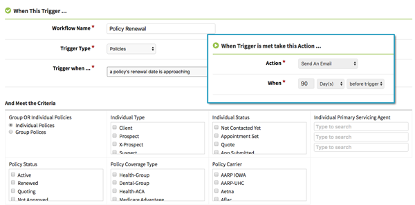 Policy renewal automated workflow