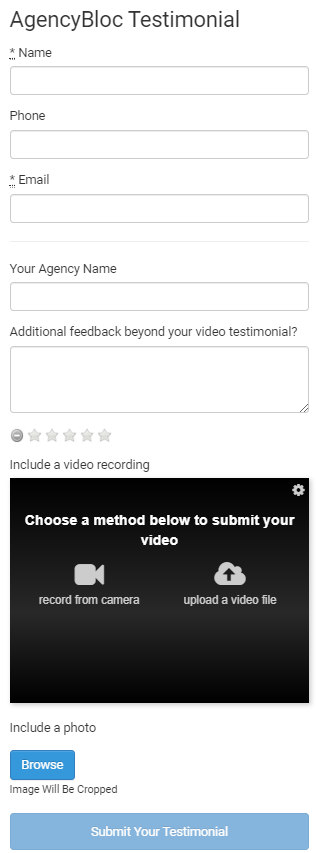 AgencyBloc Video Testimonial Capture Form