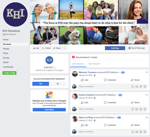KHI Solutions Facebook Reviews Page