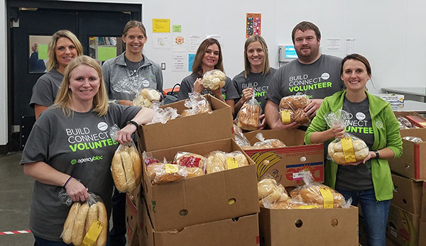 AgencyBloc team volunteering at the NE Iowa Food Bank