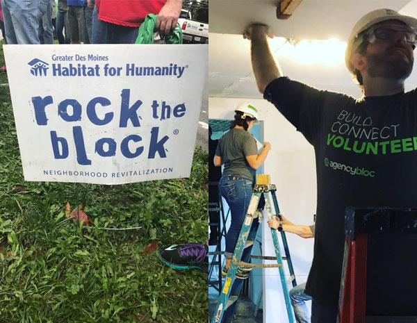 AgencyBloc team volunteering at The Habitat for Humanity's Rock the Block