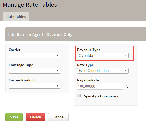 Edit Rate Table