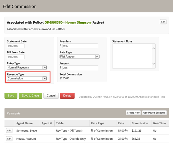 Screenshot showing how to edit the revenue type on a commission entry