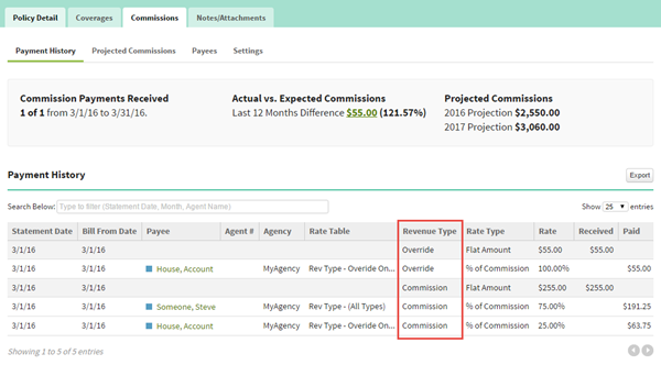 Screenshot showing the payment history on a Policy record