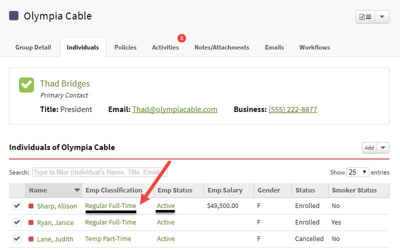 Screenshot highlighting a group individual's employee classification and employment status