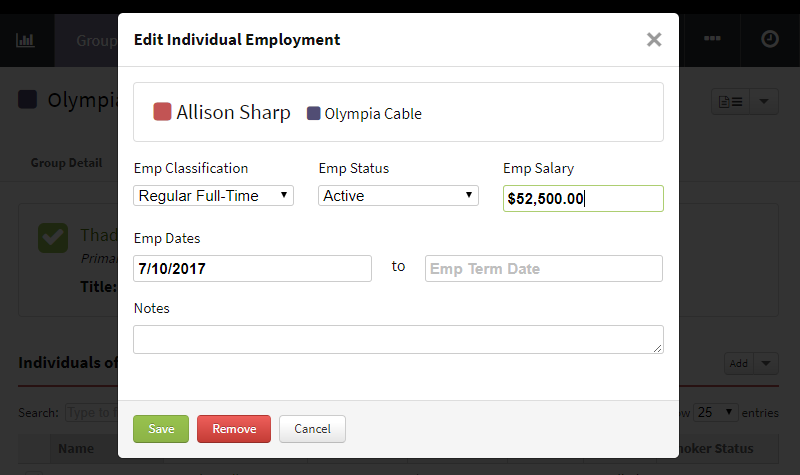 Screenshot showing how to edit an individual's employment information