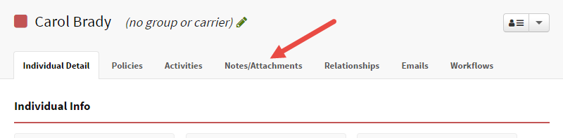 Select Notes/Attachments