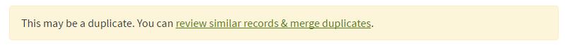 Duplicate Record Alert