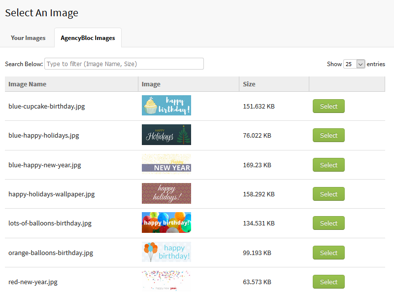 Screenshot showing the image library in AgencyBloc