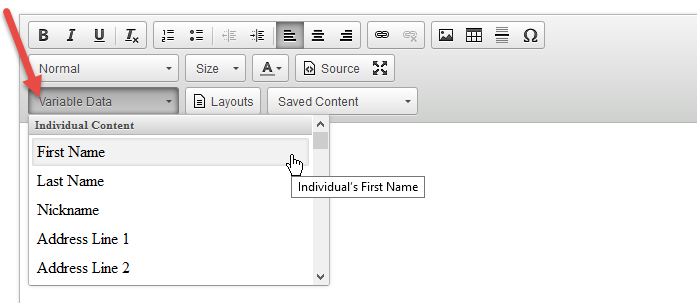 Screenshot showing variable data in the email editor