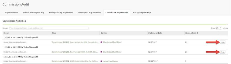 Commission Import Audit screenshot