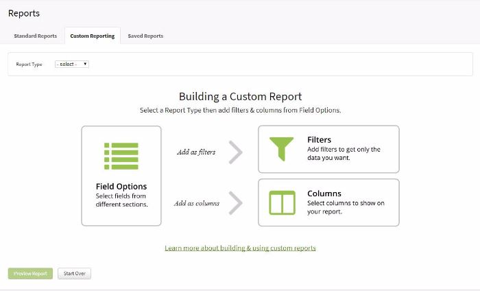 Custom Reporting report builder