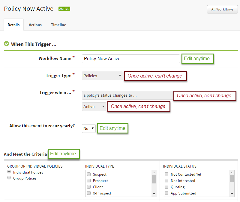 Screenshot showing what workflow trigger details and crtiera you can edit and when