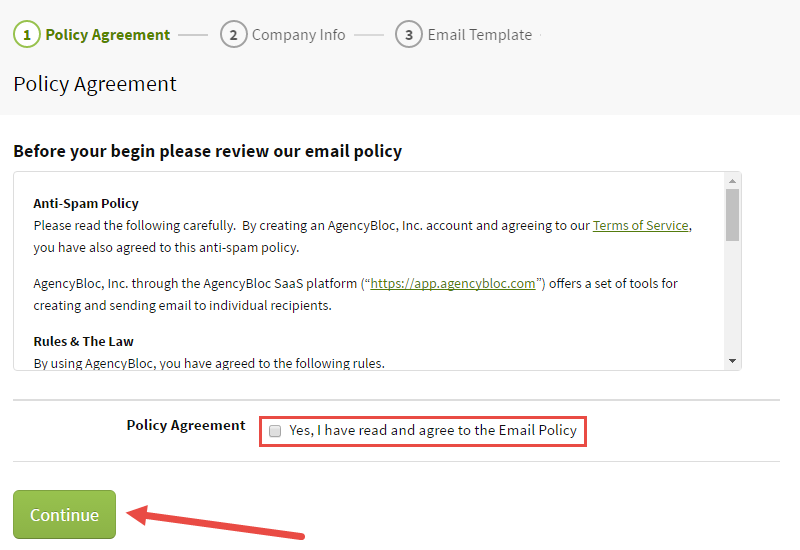 Email & Anti-Spam Policy Agreement