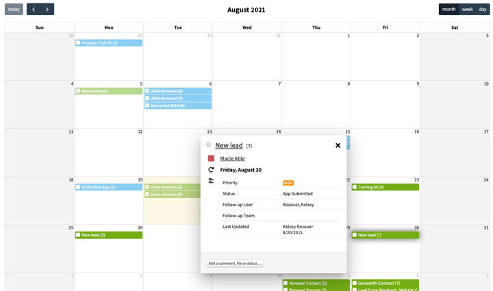 Calendar View of Activities - AgencyBloc